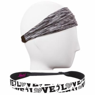 Hipsy Adjustable No Slip Volleyball Headbands for Women Gift Packs (White & Grey 2pk)