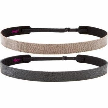 Hipsy Women's Adjustable NO SLIP Genuine Leather Motorcycle Skinny Headband (Skinny Black & Tan 2pk)