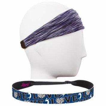 Hipsy Adjustable No Slip Volleyball Headbands for Women Gift Packs (Navy & Navy 2pk)