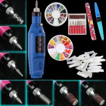 iMeshbean Professional Colorful Nail Art Drill Kit Electric File Buffer Acrylics 6 File Pedicure Machine, Blue