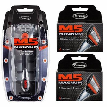 Personna M5 Magnum 5 Razor with Trimmer + M5 Magnum 5 Refill Razor Blade Cartridges, 4 ct. (Pack of 2) + LA Cross Manicure 74858