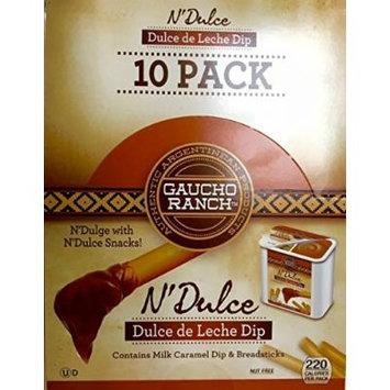 Gaucho Ranch Dulce de Leche Dip -Milk Caramel Dip and Breadsticks Package Contains 10 Packs - Net Wt 1.3lbs