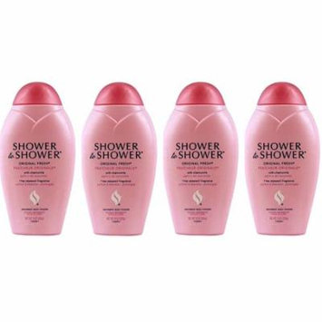 Shower to Shower Absorbent Body Powder, Original Fresh with Chamomile, 13 Oz Bottles (Pack of 4) + LA Cross Tweezers 71817