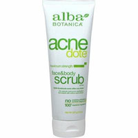 4 Pack - Alba Botanica Acne Dote Face & Body Scrub, Maximum Strength 8 oz