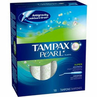 Tampax Pearl Plastic Super Abosrbency Tampons, Unscented 18 ea