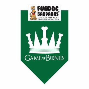 Fun Dog Bandana - Game of Bones - One Size Fits Most for Med to Lg Dogs, forest green pet scarf