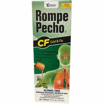 4 Pack - Rompe Pecho CF Cough & Flu Syrup With Honey, 6 oz