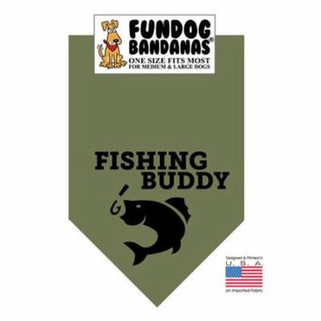 Fun Dog Bandana - Fishing Buddy - One Size Fits Most for Med to Lg Dogs, army green pet scarf