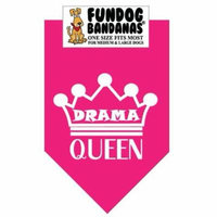 Fun Dog Bandana - Drama Queen - One Size Fits Most for Med to Lg Dogs, hot pink pet scarf