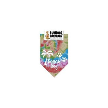 Fun Dog Bandana - Beach Dog - One Size Fits Most for Med to Lg Dogs, tie dye pet scarf