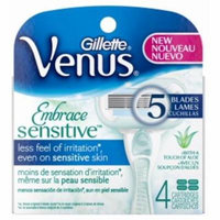 4 Pack - Gillette Venus Sensitive 5-Blade Cartridges 4 ea