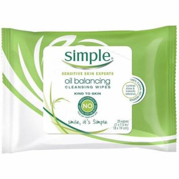 Simple Sensitive Skin Experts Oil Balancing Cleansing Wipes 25 ea
