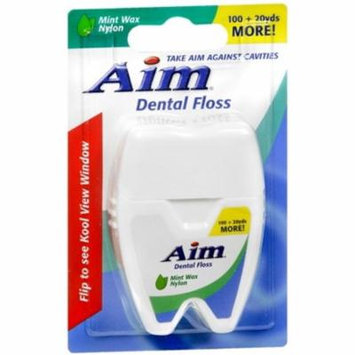 4 Pack - Aim Dental Floss Mint Wax Nylon 120 Yards