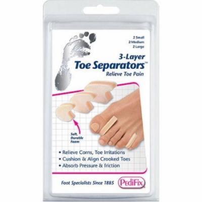 4 Pack - PediFix 3-Layer Toe Separators Small, Medium, Large 6 Each