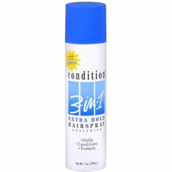 3 Pack - CONDITION 3-In-1 Hairspray Aerosol Extra Hold Unscented 7 oz