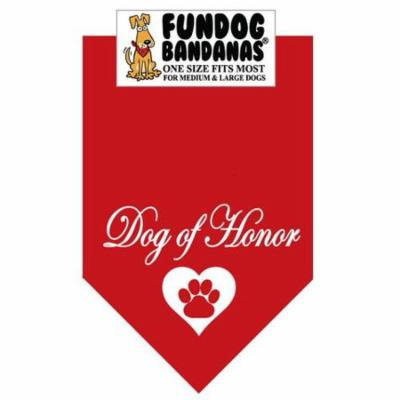 Fun Dog Bandana - Dog Of Honor - One Size Fits Most for Med to Lg Dogs, red pet scarf