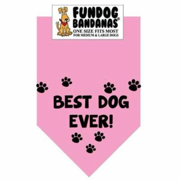 Fun Dog Bandana - Best Dog Ever - One Size Fits Most for Med to Lg Dogs, light pink pet scarf