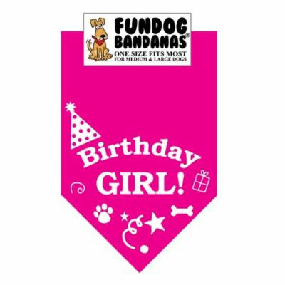 Fun Dog Bandana - Birthday Girl - One Size Fits Most for Med to Lg Dogs, hot pink pet scarf