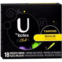 6 Pack - U by Kotex Click Unscented Tampons Regular 18 Each