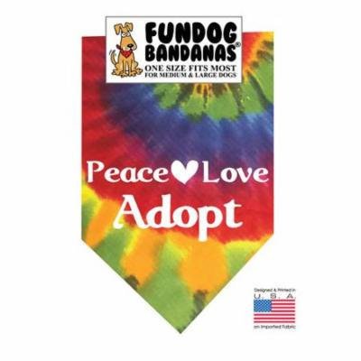Fun Dog Bandana - Peace Love Adopt - One Size Fits Most for Med to Lg Dogs, tie dye pet scarf