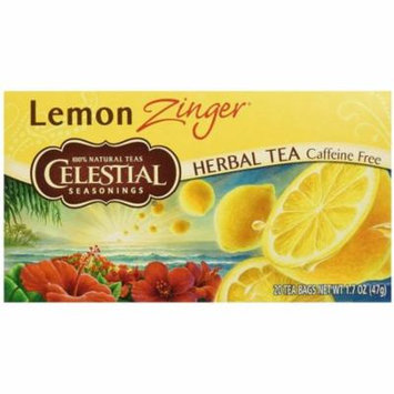 2 Pack - Celestial Seasonings Lemon Zinger Caffeine Free Natural Herb Tea 20 ea
