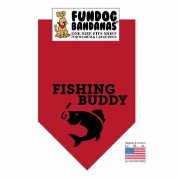 Fun Dog Bandana - Fishing Buddy - One Size Fits Most for Med to Lg Dogs, burgundy pet scarf