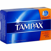 6 Pack - Tampax Biodegradable Applicator Tampons, Super Plus 10 ea