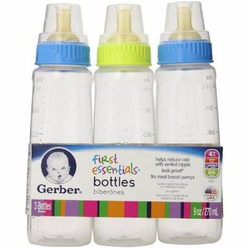 6 Pack - Gerber First Essentials Clear View Bottles Silicone Nipple 9 oz, Assorted Colors 3 ea