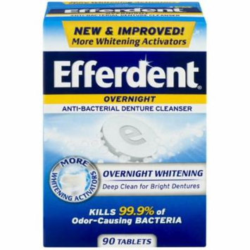 3 Pack - Efferdent PM Overnight Anti-Bacterial Denture Cleanser Tablets 90 ea