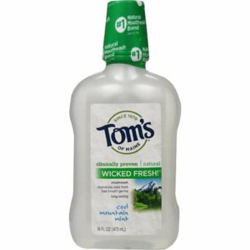 2 Pack - Tom's of Maine Long Lasting Wicked Fresh Mouthwash, Cool Mountain Mint 16 oz