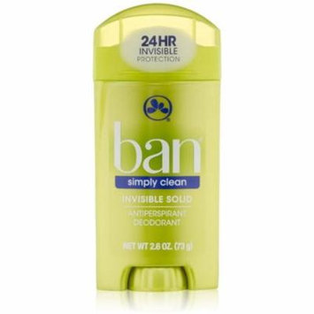 3 Pack - Ban Antiperspirant Deodorant Invisible Solid, Simply Clean 2.60 oz