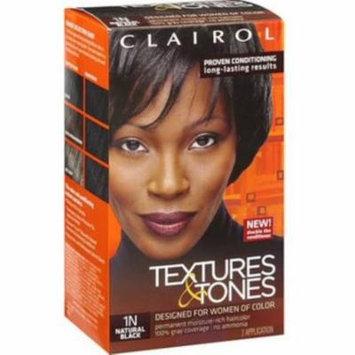 Clairol Textures & Tones Permanent Hair Color 1N Natural Black, 1 ea