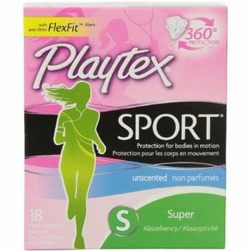 6 Pack - Playtex Sport Unscented Super Absorbency Tampons 18 ea