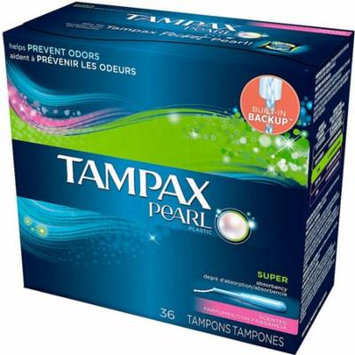 2 Pack - Tampax Pearl Plastic Super Absorbency Tampons, Fresh Scent 36 ea