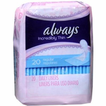 4 Pack - Always Thin Pantiliners Regular Unscented 20 Each