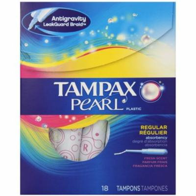 4 Pack - Tampax Pearl Plastic Tampons, Regular Absorbency, Fresh Scent, 18 ea