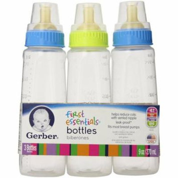 6 Pack - Gerber First Essential Clear View 9 oz Bottles With Latex Nipple, Colors May Vary 3 ea
