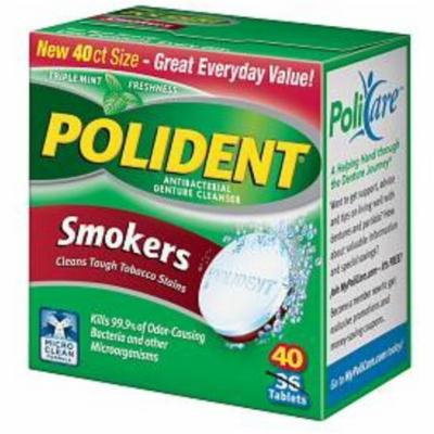 2 Pack - Polident Smokers, Antibacterial Denture Cleanser 40 ea