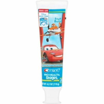2 Pack - Crest Pro-Health Stages The World of Cars Toothpaste Fruit Burst 4.20 oz