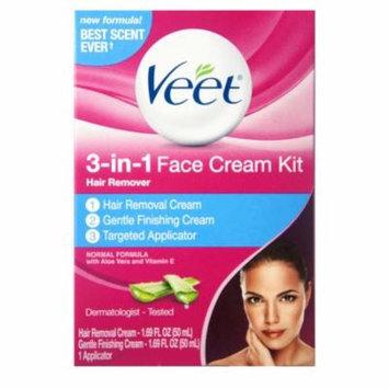 2 Pack - VEET 3-in-1 Face Cream Hair Remover Kit, Normal Formula With Aloe Vera & Vitamin E 1 ea