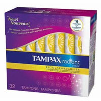 4 Pack - Tampax Radiant Tampons with Plastic Applicators Regular Absorbency Unscented 32 Each