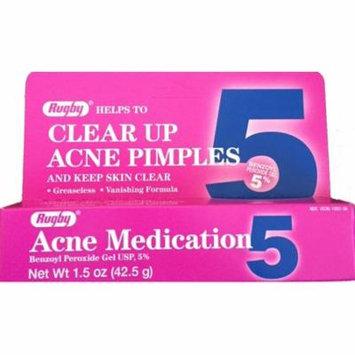 Rugby Acne Medication Benzoyl Peroxide Gel 5 % - 1.5 Oz, 2 Pack