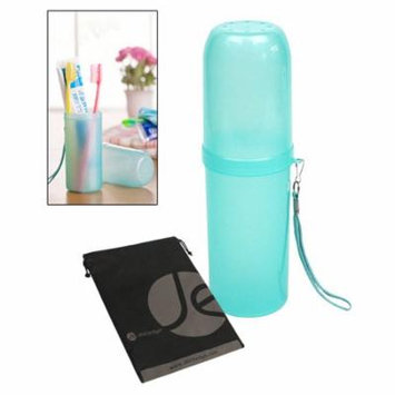 JAVOedge Turquoise Travel Toothbrush Brush and Toothpaste Portable Container, Cap, Wristlet, Bonus Storage Bag