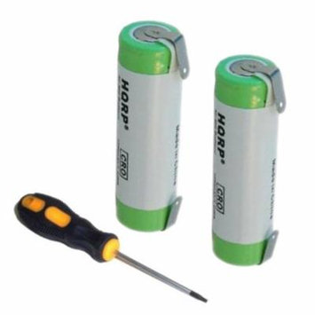 HQRP 2-Pack Batteries for Braun Type 5647, 5649, 8990, 8991, 8995, 90ññ Razor / Shaver plus Screwdriver and Coaster