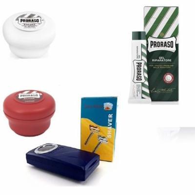 Proraso Shave Soap Sensitive 150ml + Proraso Shave Soap Sandalwood 150ml + Shaving Factory Double Edge Safety Razor, Silver + Proraso Styptic Gel 10ml + Makeup Blender