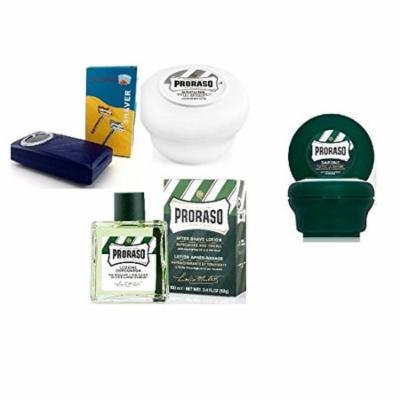 Proraso Shave Soap, Sensitive 150 ml + Proraso shaving soap menthol and eucalyptus 4oz + Shaving Factory Double Edge Safety Razor, Silver + Proraso Aftershave Lotion, Refresh, 100 ml + Makeup Blender