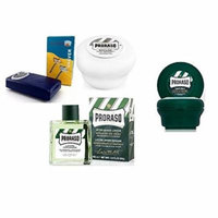 Proraso Shave Soap, Sensitive 150 ml + Proraso shaving soap menthol and eucalyptus 4oz + Shaving Factory Double Edge Safety Razor + Proraso Aftershave Lotion, Refresh, 100 ml + Curad Bandages 8 Ct