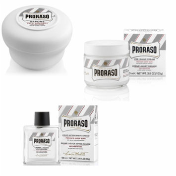 Proraso for Sensitive Skin Set: Pre-shave Cream 3.6oz + Shave Soap 5.2oz + Aftershave Balm 3.4oz + Curad Bandages 8 Ct.