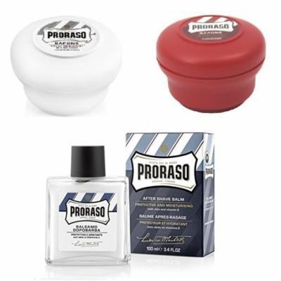 Proraso Shave Soap, Sensitive 150 ml + Proraso Shave Soap, Sandalwood 150 ml + Proraso After Shave Balm Protective, 3.4 Fluid Ounce + Makeup Blender
