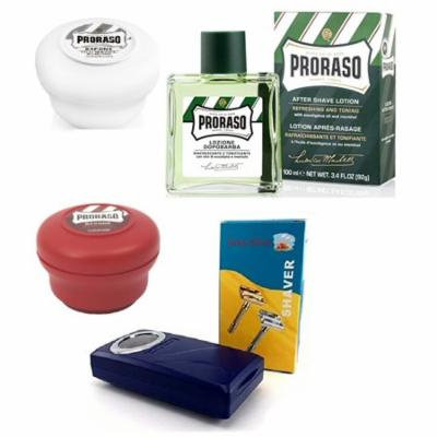 Proraso Shave Soap Sensitive 150ml + Proraso Shave Soap Sandalwood 150ml + Shaving Factory Double Edge Safety Razor, Silver + Proraso Aftershave Lotion, Refresh, 100ml + Makeup Blender